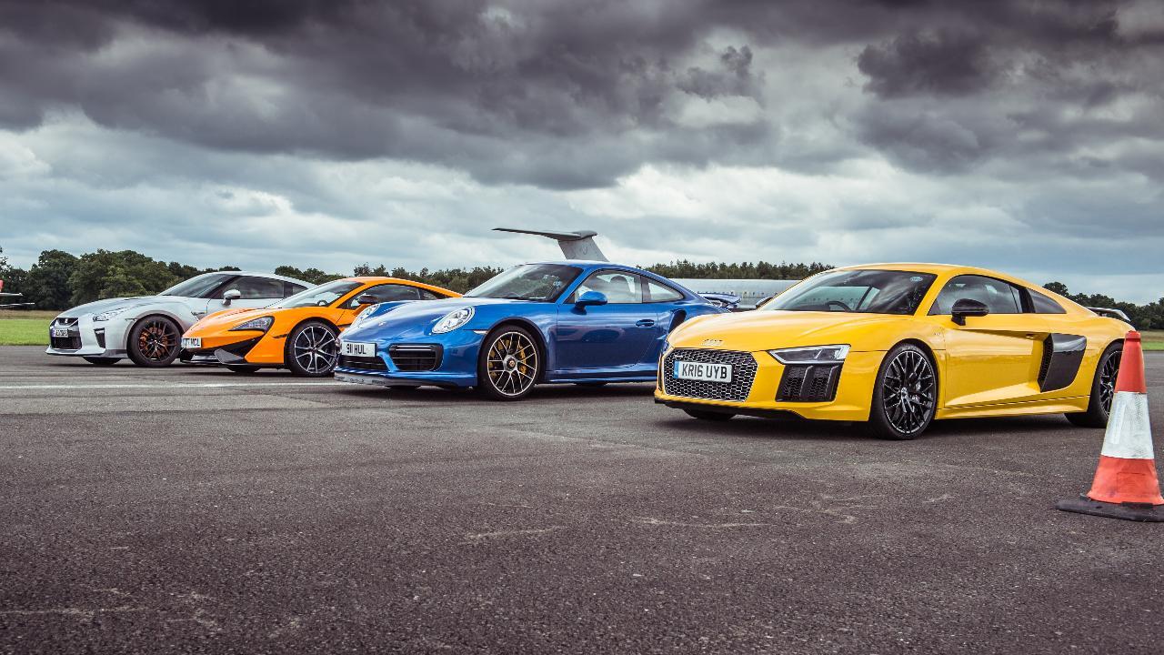 Tg Drag Races Mclaren 570s Vs Porsche 911 Turbo S Vs Audi R8 Vs