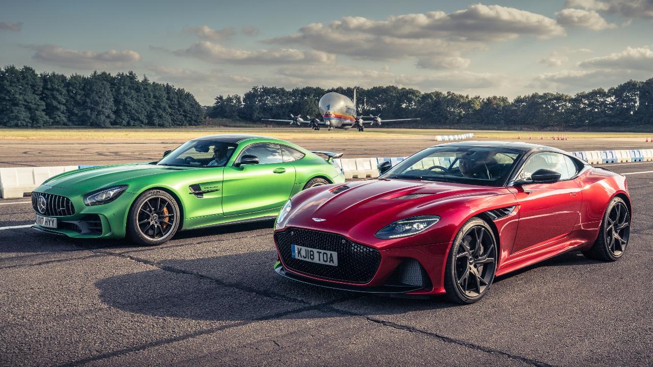 Top Gear Drag Races Aston Martin Dbs Vs Merc Amg Gt R Top Gear