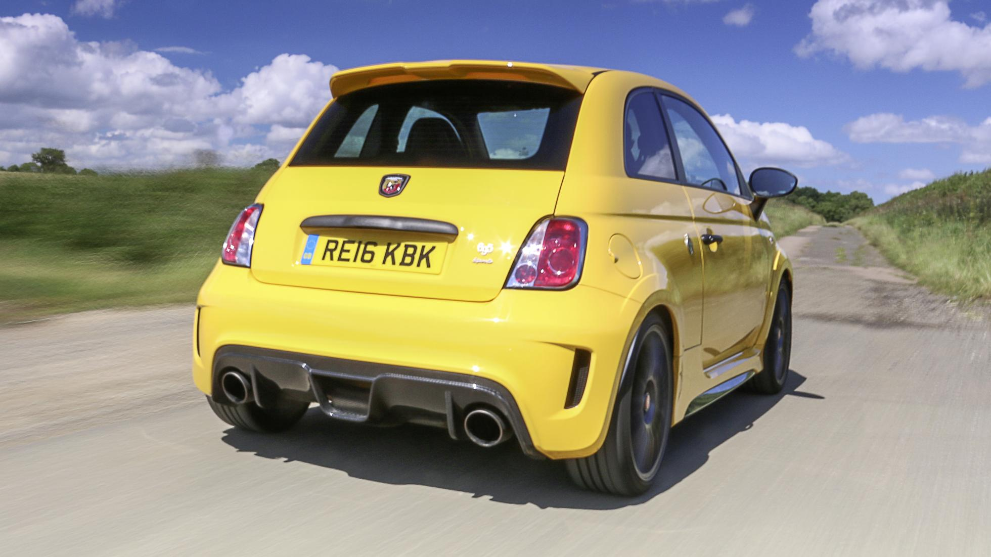 Abarth 500 yellow rear quarter