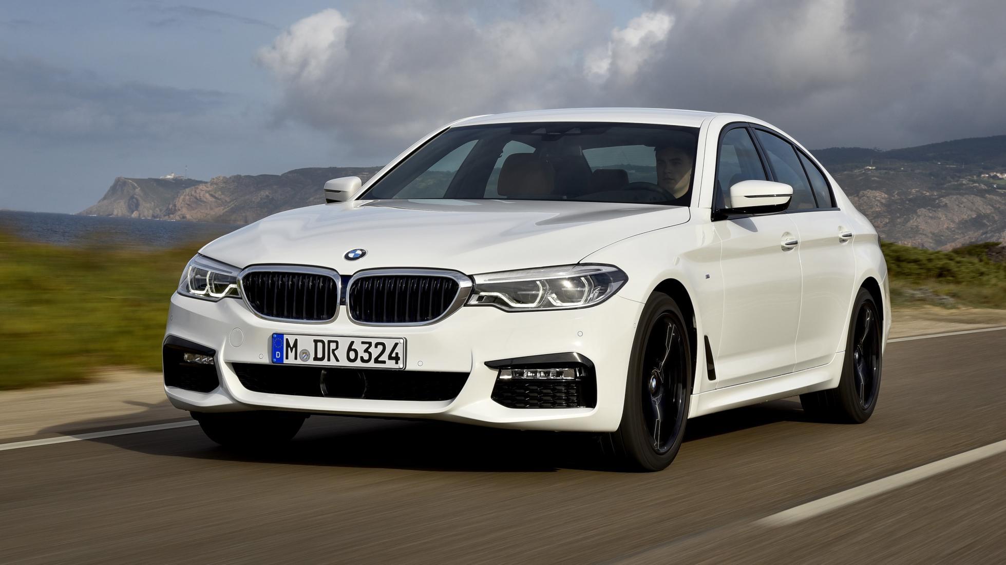 BMW 540i white front