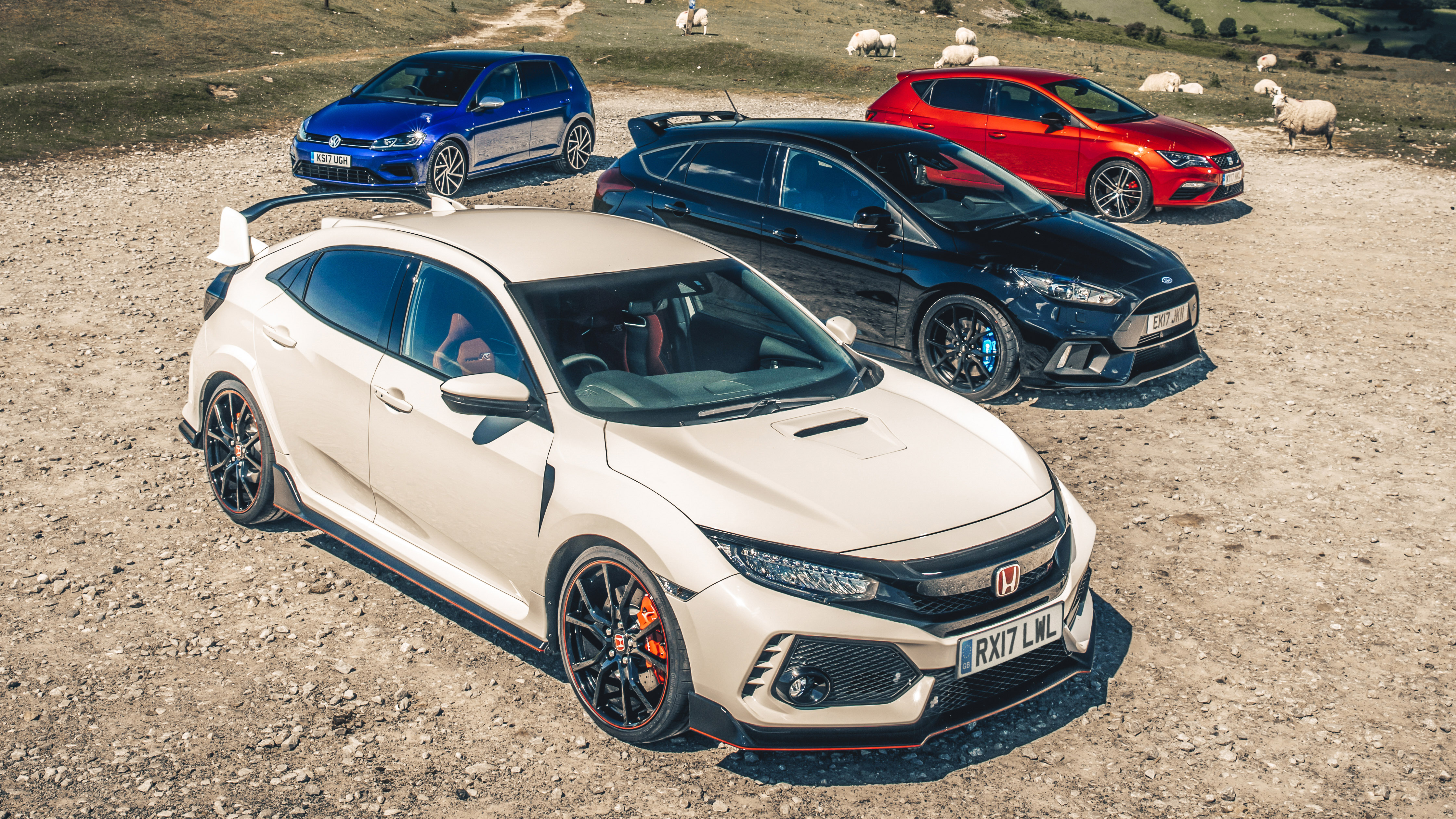 hot hatch shootout civic type r vs fiesta st vs vw golf r top gear. Black Bedroom Furniture Sets. Home Design Ideas