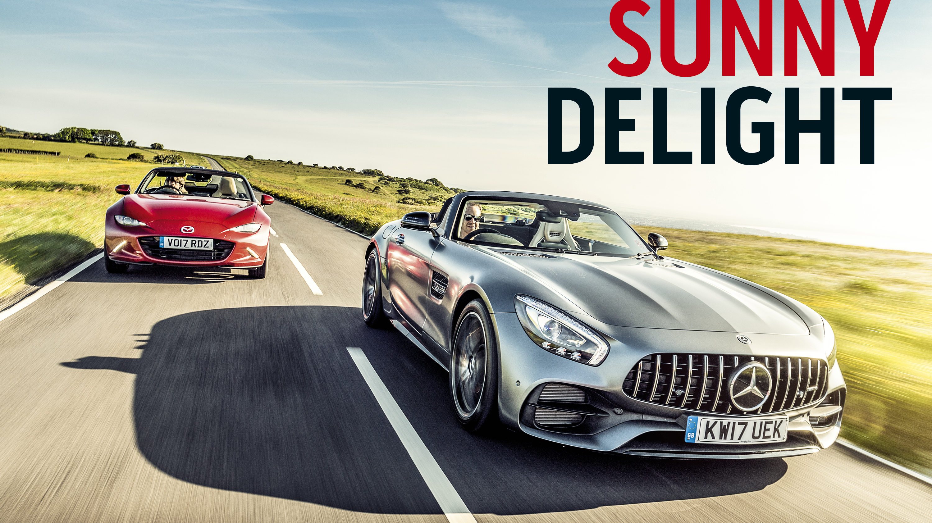 Mercedes-AMG GT C and Mazda MX-5 front