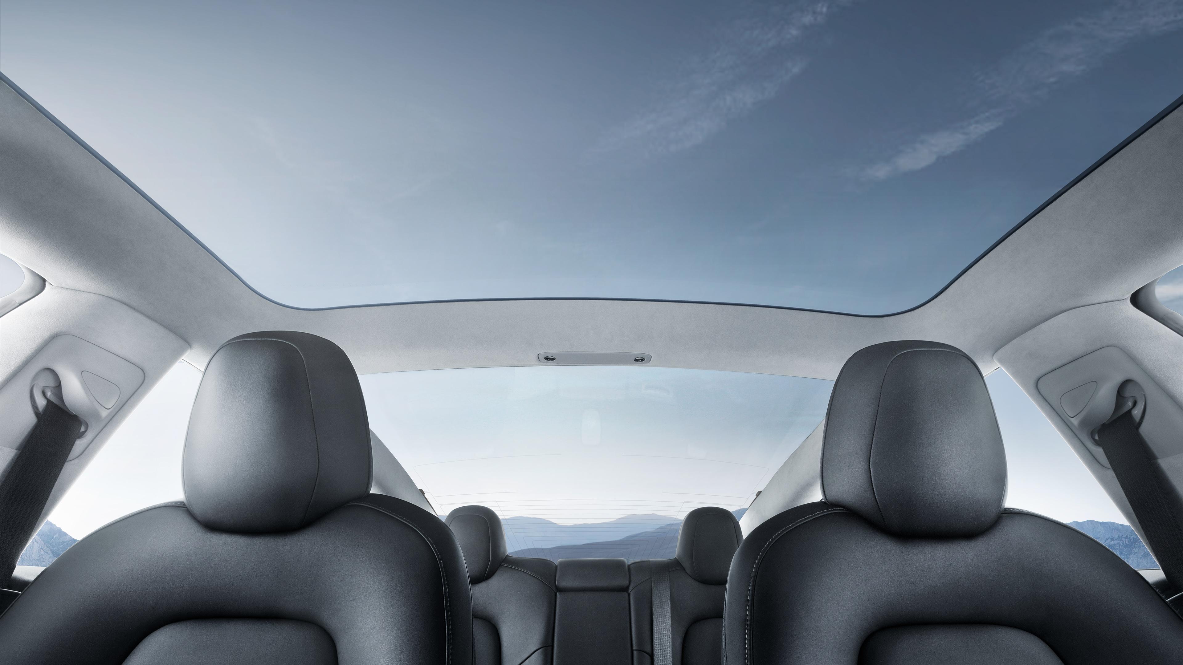 Tesla Model 3 interior glass roof
