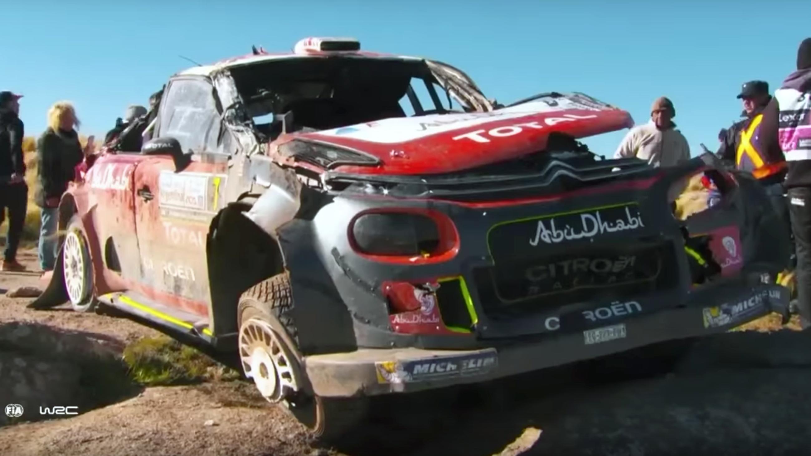 Citroen WRC car crash Argentina Kris Meeke