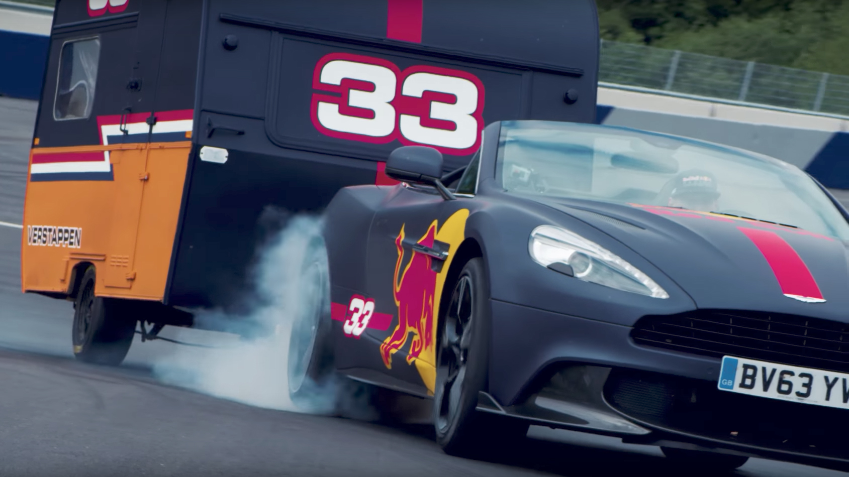Aston Martin Vanquish Red Bull and caravan