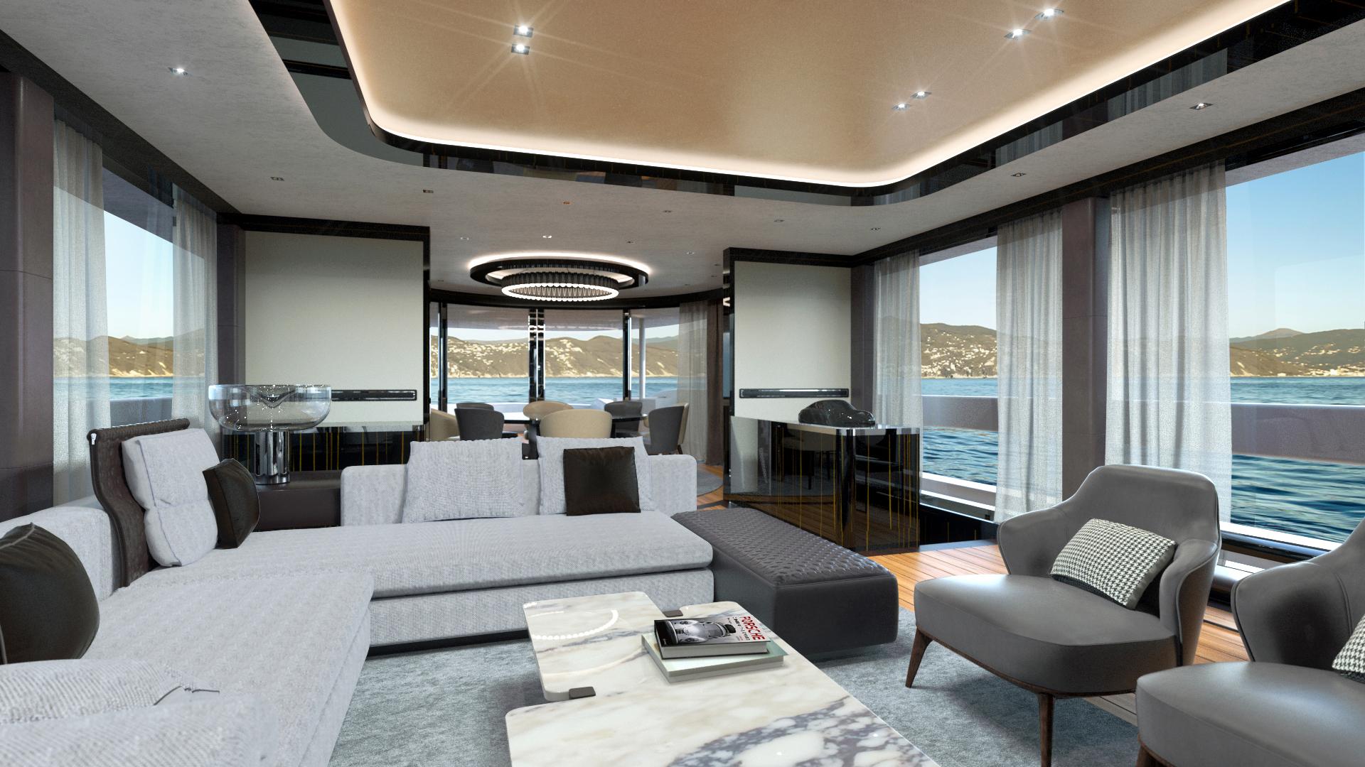Porsche superyacht with dynamiq interior render