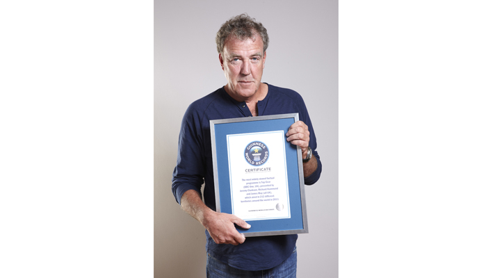 Jeremy Clarkson accepts Guinness Book of Records certificate