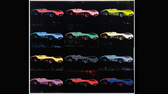 Andy Warhol's painting of Fangio's Merc for sale